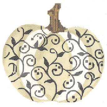 Ivory and Charcoal Scroll Pumpkin