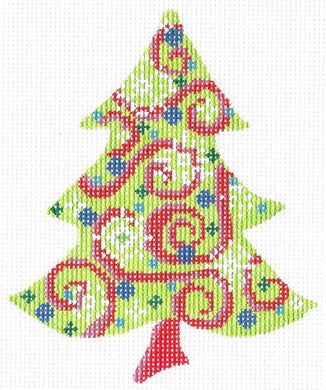 Chartreuse Swirlz-n-Snowflakes Tree Stitch Guide