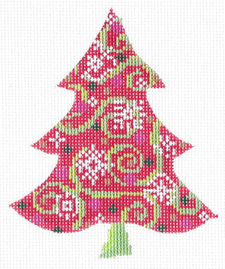 Red Swirlz-n-Snowflakes Tree Stitch Guide