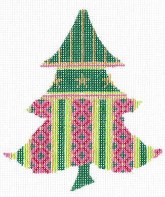 Pink Diamond Striped Tree Stitch Guide