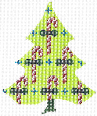 Candy Canes on a Chartreuse Tree Stitch Guide