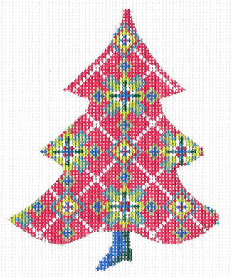 Red Scandanavian Snowflake Tree Stitch Guide