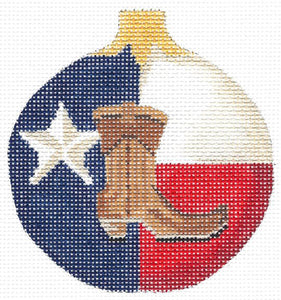 Lone Star Boot Round Ornament
