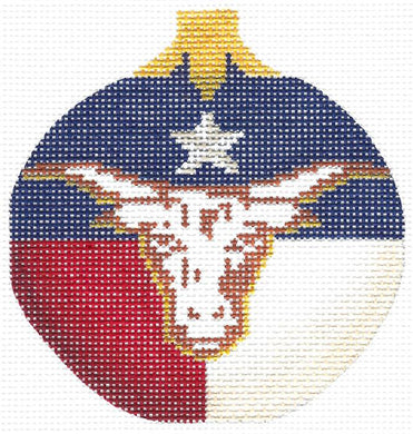 Lone Star w/ Long Horn Round Ornament