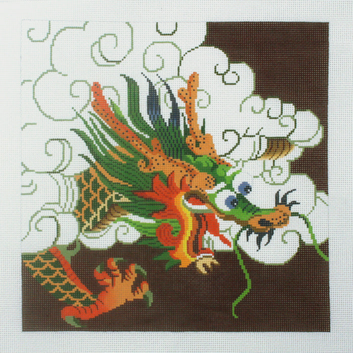 Green Dragon on Maroon
