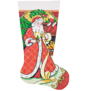 Santa with List Stocking