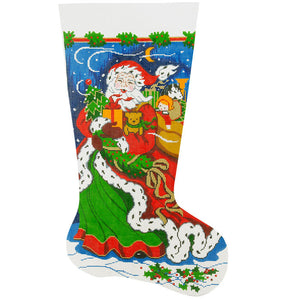 Windblown Santa Stocking