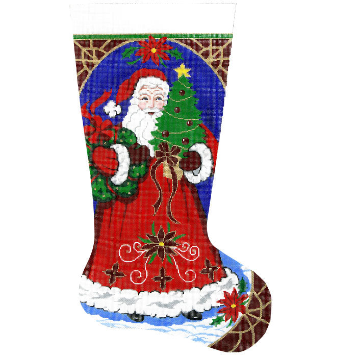 Santa with Wreath Stocking