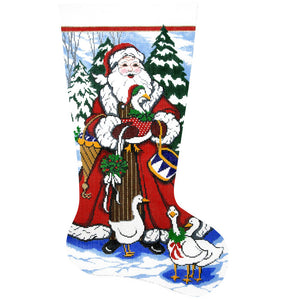 Santa with Geese Stocking