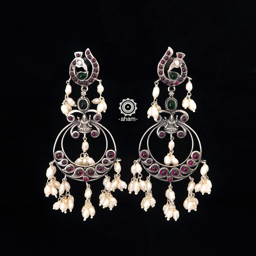 Guttapusalu Silver Chandbali earrings