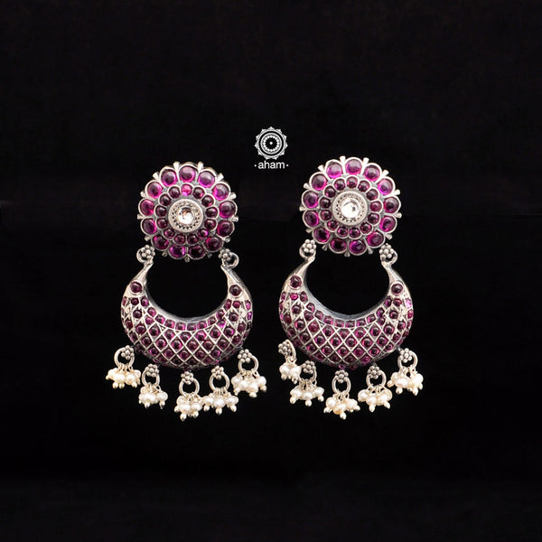 Spinel Green Chandbali Silver Earrings