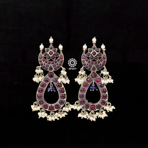 92.5 Sterling Silver earring with traditional South India Kemp stones