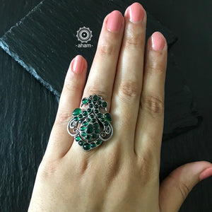 Adjustable Silver Green Peacock Ring
