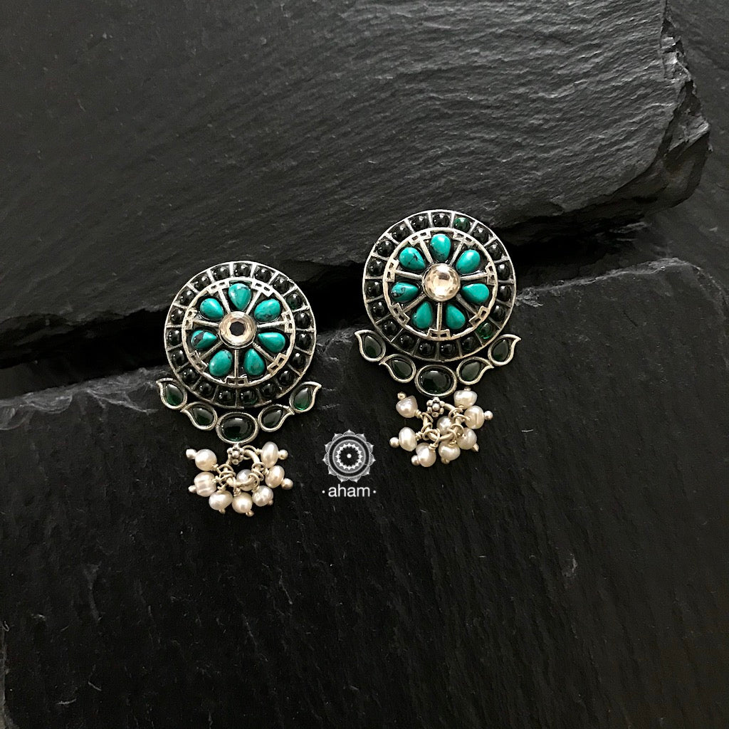 Stunning and gorgeous, an impeccably handcrafted pair of Turquoise and Green stone earrings in 92.5% Sterling Silver, with hanging pearls.