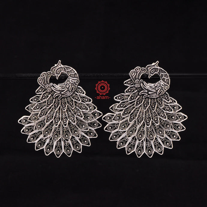 Mewad Multi layer Silver Peacock Earring