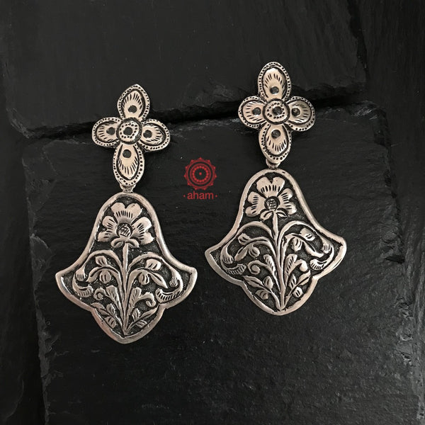 Silver Earrings with beautiful Chitai Work in 92.5 sterling silver