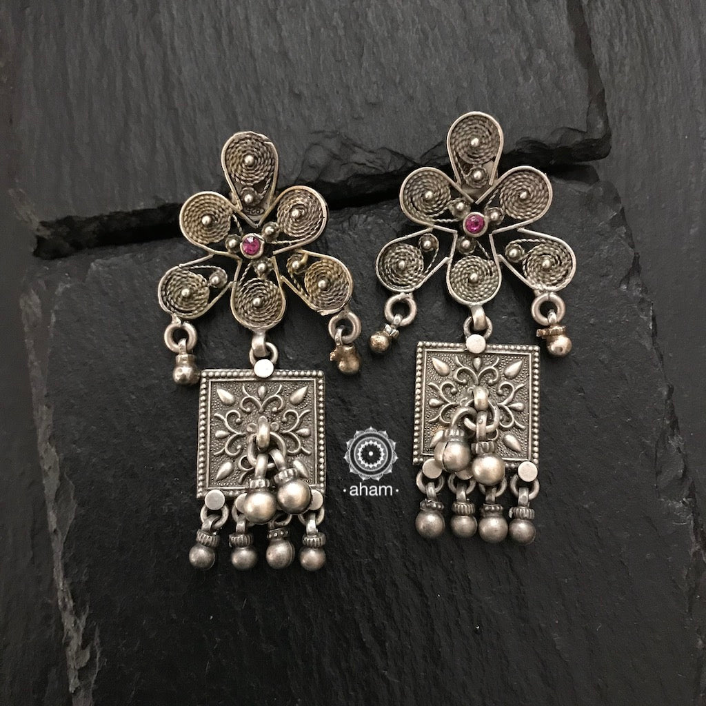 Unique Silver earring with Coil work studs and Ghungroos