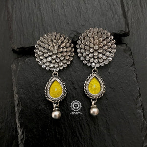 Zircon Silver Earring with Rang Mahal Colour Drop