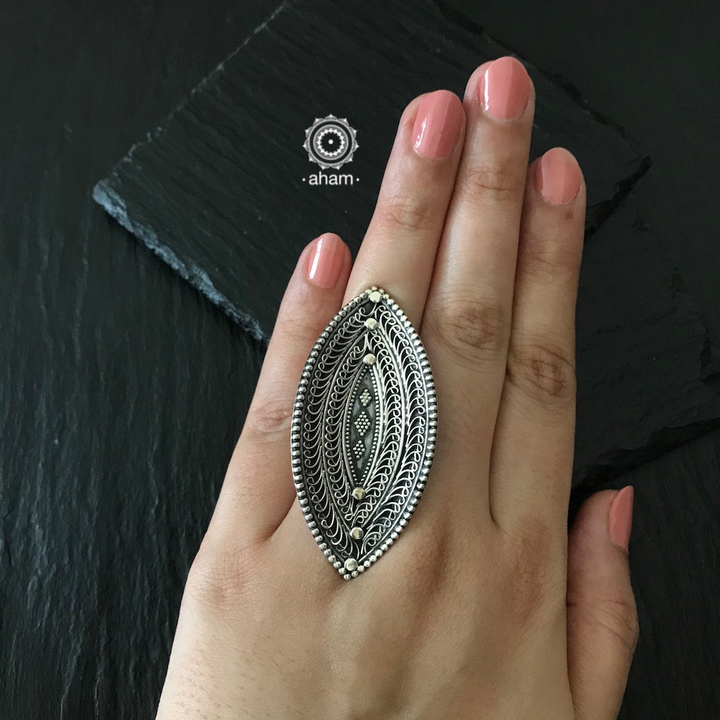 Silver Adjustable 92.5 Statement Ring