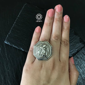 Silver Adjustable 92.5 Krishna Ring