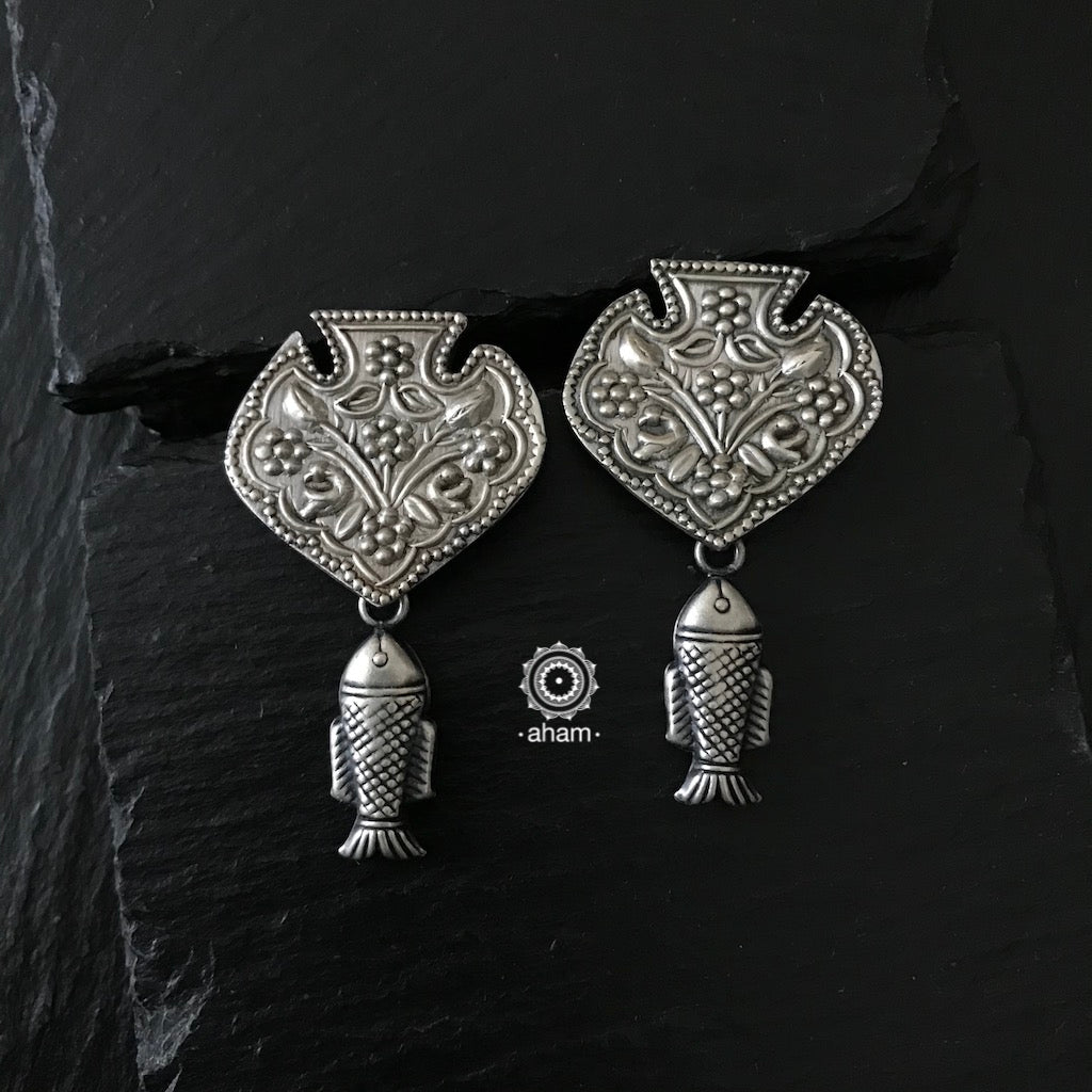 Handcrafted silver earring from Rajasthan.