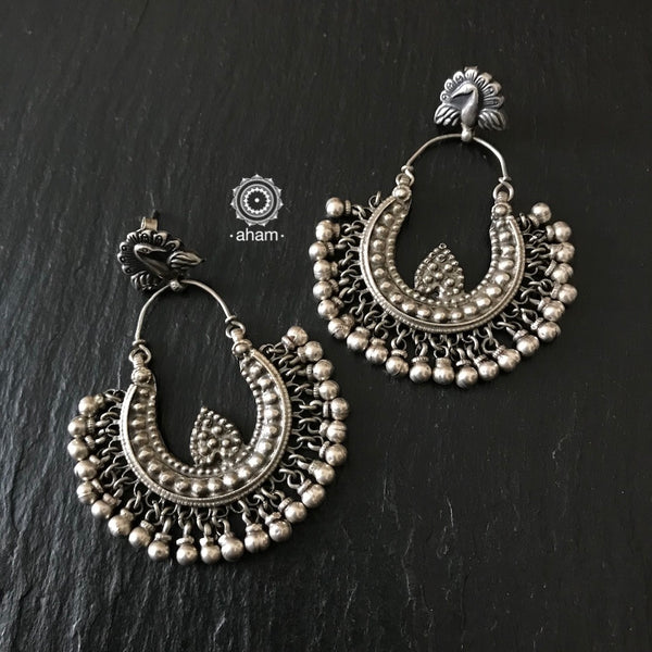 Silver Peacock Chandbali Earrings