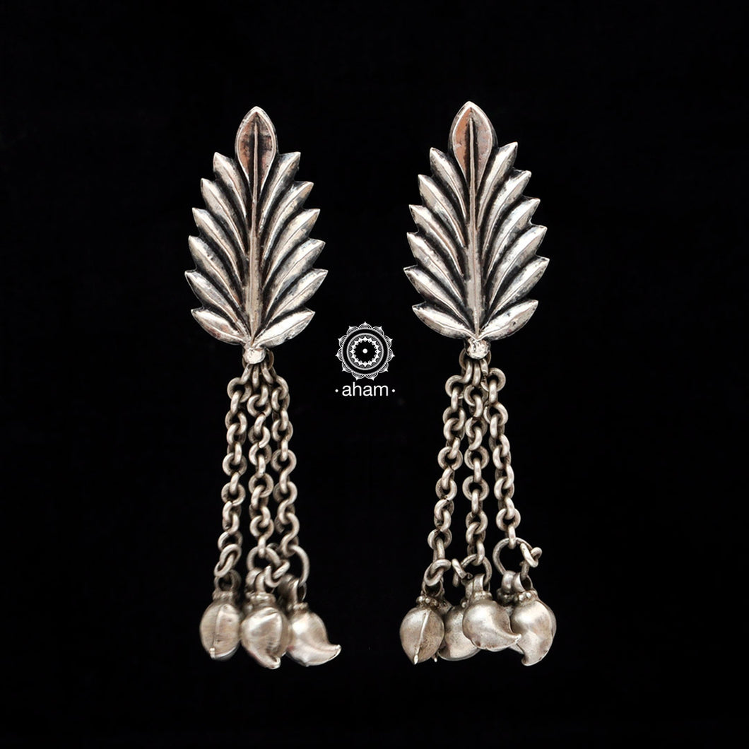 Silver Leaf Earring with Mango Drops