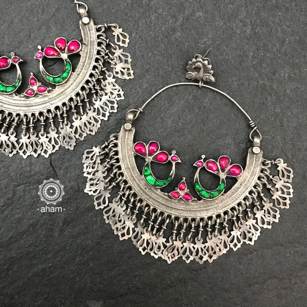 Over Sized Silver Peacock Hoops that are bound to make a statement.