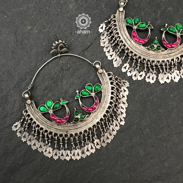 Oversized Green & Pink Peacock Chandbali