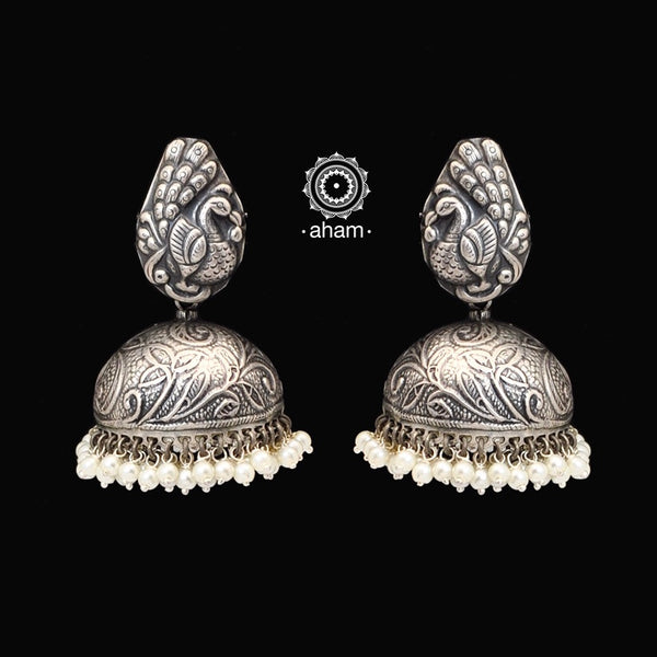 Classic ethnic 92.5 sterling silver jhumkie with peacock motif and laced with pearls