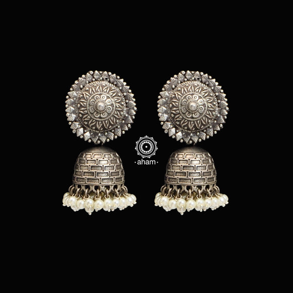 Classic ethnic silver jhumkie with pearls