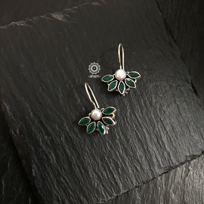 Green Half Flower Silver Earring