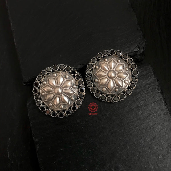 92.5 Sterling Silver Studs with Black Stone Highlights
