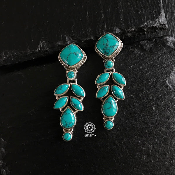Everyday wear 92.5 sterling silver Earrings with turquoise stone