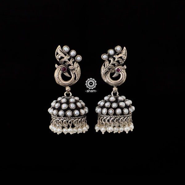 92.5 Sterling Silver Silver Peacock Jhumkie with pearls