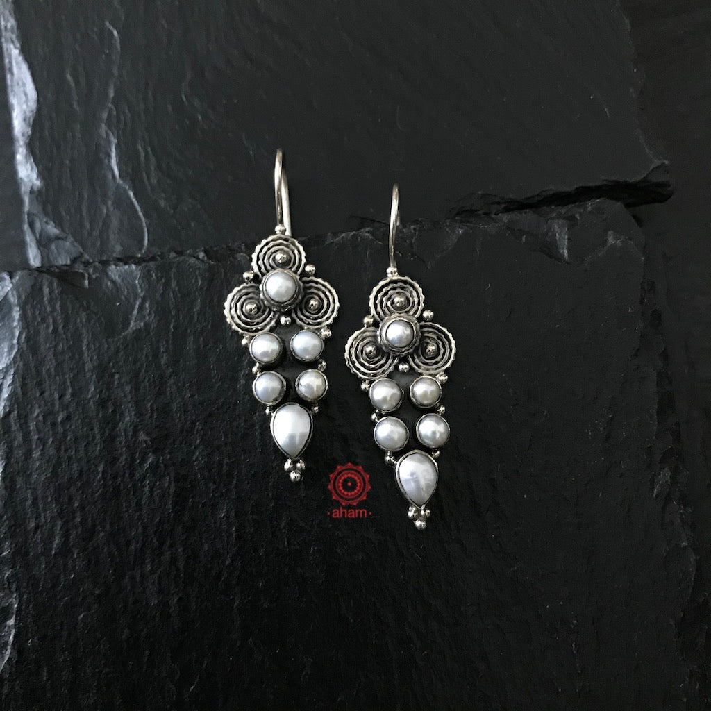 Handcrafted Silver hooks with pearls