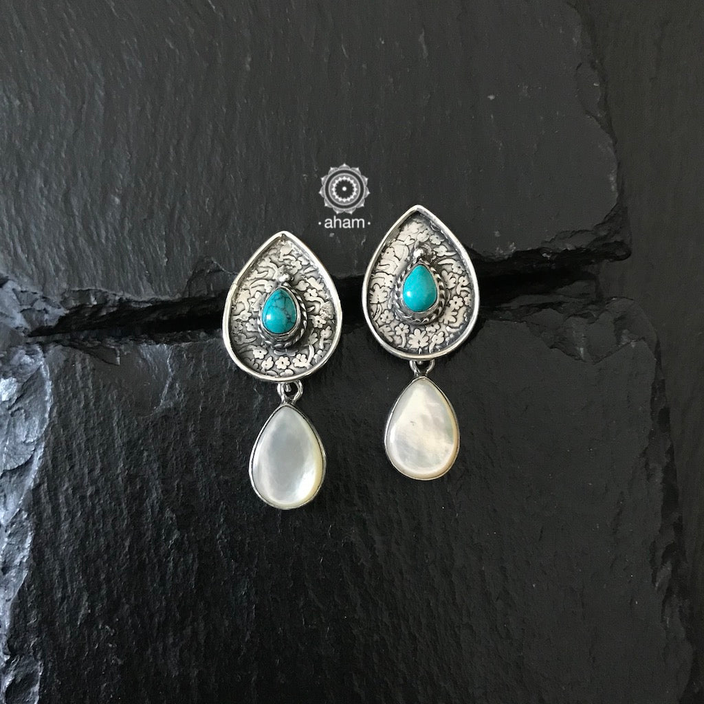 Summer Love Silver Pearl & Turquoise Drops