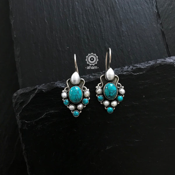 Pearl and Turquoise Silver Earring in Hook