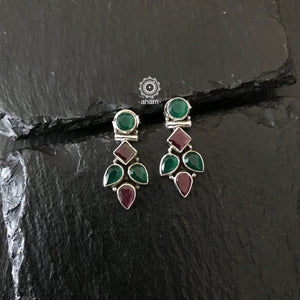 Maroon and Green Silver Summer love Earring