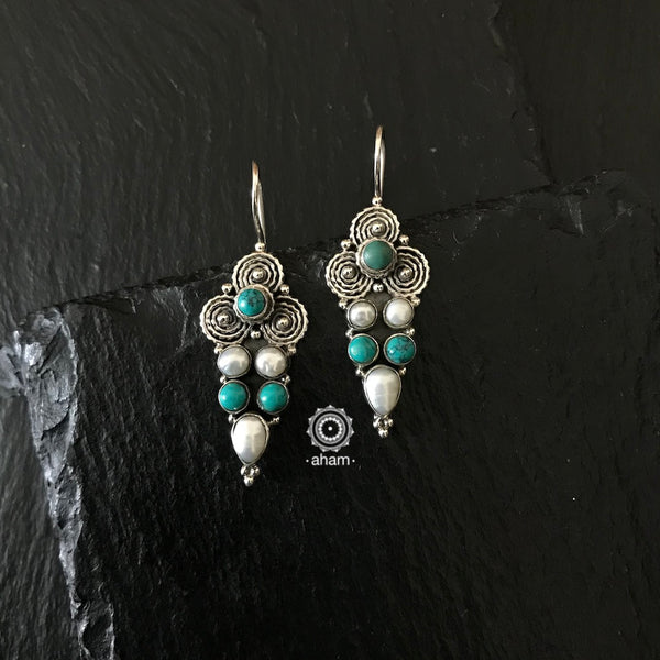 Turquoise and Pearl Silver Summer Love Earring