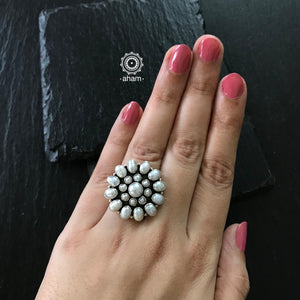 Stylish Pearl Ring in 92.5 Sterling Silver.  Versatile and ever so stylish.  Goes with a variety of outfits.
