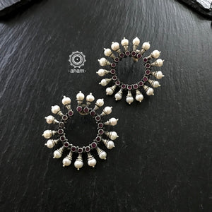 Statement Silver Circular Earrings with Pearls and stone setting