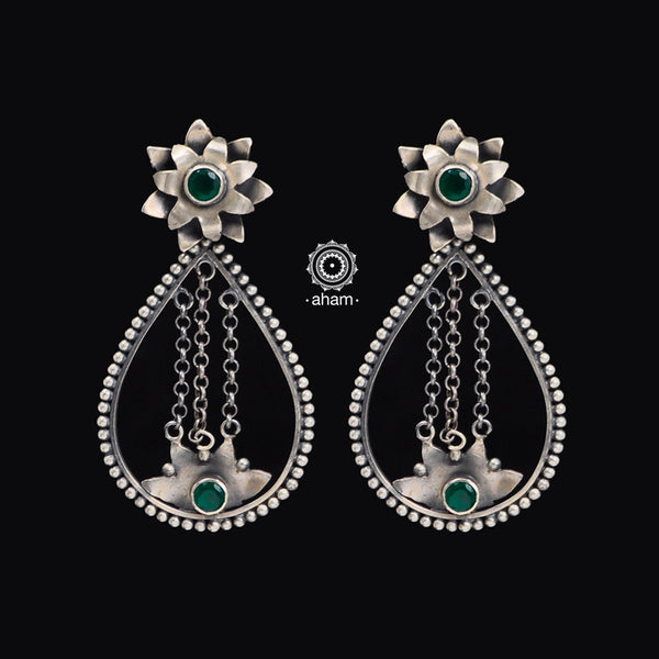 Summer Love Green Flower Silver Earring