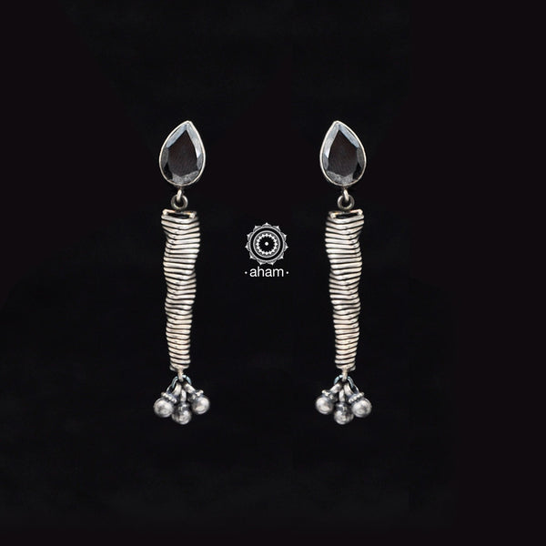 Summer Love Black Spiral Silver Earring