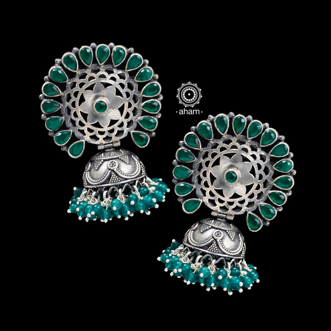 92.5 Sterling Silver Jhumkie with Green stones.