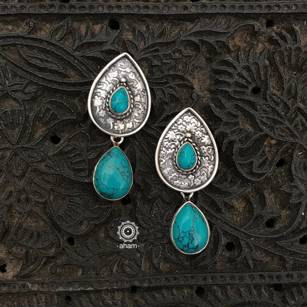 Everyday wear light weight 92.5 Sterling Silver Earrings with turquoise stones.
