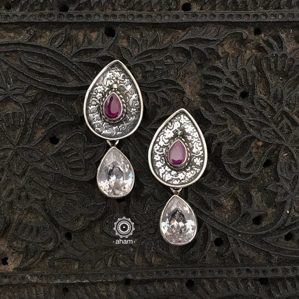 Everyday wear light weight 92.5 Sterling Silver Earrings with white and maroon stones.