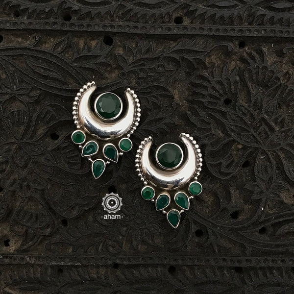 92.5 Sterling Silver Earrings with green coloured stones. Light weight and easy to wear.