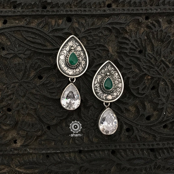 Everyday wear light weight 92.5 Sterling Silver Earrings with white and green stones.