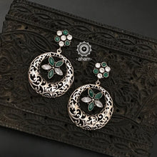 92.5 Sterling Silver Earrings with white and green coloured stones.